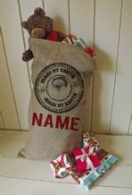 Personalized Made By Santa Stamp Large Father Christmas Xmas Santa Sack / Stocking Bag Jute Hessian